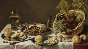 Pieter Claesz Tabletop Still Life with Mince Pie and Basket of Grapes oil painting reproduction