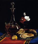 Adalbert John Volck still life by Adalbert John Volck, showing decanter of wine, oysters, small vase of flowers, slice of lemon oil painting