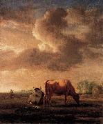 Adriaen van de Velde Cows on a Meadow oil painting artist