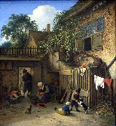 Adriaen van ostade The cottage dooryard. oil
