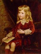 Alfred Edward Emslie Portrait of a young boy in a red velvet suit oil painting