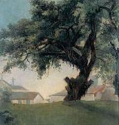 Anonymous Giant tree and barracks Spain oil painting artist
