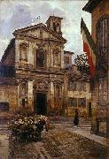 Arturo Ferrari Church of Santo Stefano in Borgogna in Milan oil painting