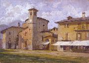 Arturo Ferrari Church and Houses oil painting