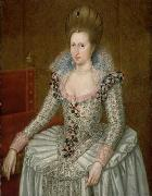 Attributed to John de Critz the Elder Portrait of Anne of Denmark oil painting