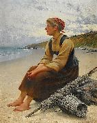 August Hagborg Ostronplockerska pa stranden oil painting