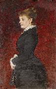 Axel Jungstedt Portrait  Lady in Black Dress oil painting
