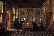 BASSEN, Bartholomeus van Five ladies in an interior oil