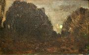 Charles Francois Daubigny Rising Moon in Barbizon oil