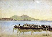 Christen Kobke The Bay of Naples with Vesuvius in the Background oil painting artist