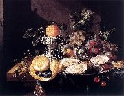 Cornelis de Heem Still-Life with Oysters, Lemons and Grapes oil