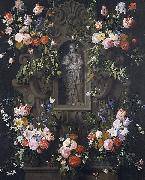 Daniel Seghers Garland of flowers with a sculpture of the Virgin Mary oil