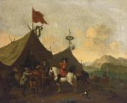 Evert Oudendijck Soldiers resting outside their encampment in an Italianate landscape oil painting