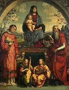 Francesco Francia Madonna and Child with Sts Lawrence and Jerome oil painting artist