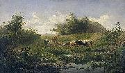 Gerard Bilders Cows at a pond oil painting artist