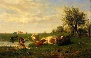 Gerard Bilders Cows in the meadow oil painting artist
