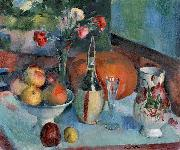 Henry Ottmann Nature morte aux fruits et a la fiasque de vin oil painting