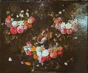 Jan Van Kessel Garland of Flowers with the Holy Family Spain oil painting artist