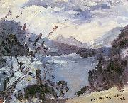 Lovis Corinth Walchensee mit Bergkette und Uferhang oil painting reproduction