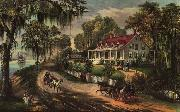 Currier and Ives A Home on the Mississippi oil painting artist