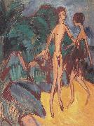 Ernst Ludwig Kirchner Nackter Jungling und Madchen am Strand oil painting reproduction