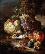 RUOPPOLO, Giovanni Battista Still Life with Fruit and Dead Birds in a Landscape oil painting artist