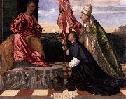 Titian Jacopo Pesaro being presented by Pope Alexander VI to Saint Peter oil painting reproduction
