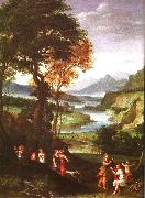 Gian  Battista Viola Landscape with Meleager and Atlanta oil painting