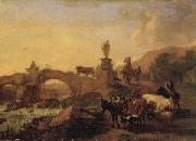BERCHEM, Nicolaes Italian Landscape with a Bridge oil painting picture wholesale