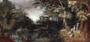 Claes Dircksz.van er heck A wooded landscape with huntsmen in the foreground,a town beyond oil painting picture wholesale