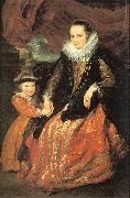 Dyck, Anthony van Susanna Fourment and her Daughter oil