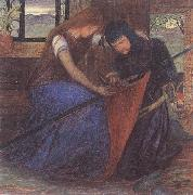 Elizabeth Siddal A Lady Affixing a Pennant to a Knight's Spear oil painting artist