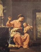 Francesco Trevisani Madonna Sewing with Child oil painting