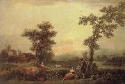Francesco Zuccarelli Landscape with a Woman Leading a Cow oil painting picture wholesale