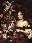 Gaspar Peeter Verbrugghen the younger A still life of various flowers with a young lady beside an urn oil painting artist
