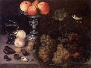 Georg Flegel Still life of grapes on a pewter dish,together with peaches,nuts,a glass roemer and a silver tazza containing apples and pears,and a blue-tit oil painting picture wholesale