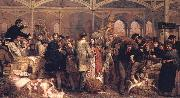 George Elgar Hicks Billingsgate Fish Market oil painting artist