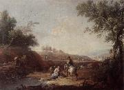 Giuseppe Zais An italianate landscape with fishermen and travellers resting beside a pool oil painting picture wholesale