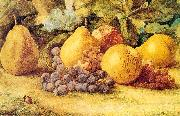 Hill, John William Apples, Pears, and Grapes on the Ground oil painting artist
