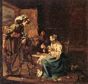 Jacob Duck Interior with soldiers and a woman playing cards,an officer watching from a doorway oil painting artist