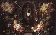 Jan Van Kessel Still life of various flowers and grapes encircling a reliqu ary containing the host,set within a stone niche oil painting picture wholesale
