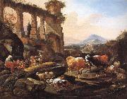 Johann Heinrich Roos Landscape with Shepherds and Animals oil painting artist
