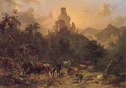 Johann Nepomuk Rauch Landscape with Ruins oil painting