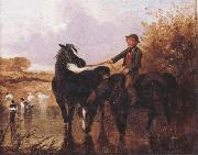John Frederick Herring Watering The Horses and Farmyard Companions:a Pair of Paintings oil painting artist