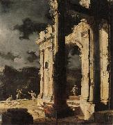 Leonardo Coccorante An architectural capriccio with figures amongst ruins,under a stormy night sky oil painting artist