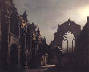 Luis Daguerre The Ruins of Holyrood Chapel,Edinburgh Effect of Moonlight oil painting artist