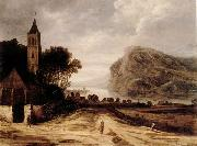 Philippe de Momper An extensiver river landscape with a church,cattle grazing and a traveller on a track oil painting picture wholesale