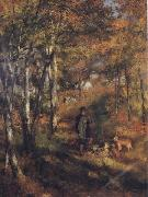 Pierre Renoir The Painter Jules Le Coeur walking his Dogs in the Forest of Fontainebleau oil painting picture wholesale