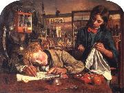 Robert Braithwaite Martineau Kit's First Writing Lesson oil painting picture wholesale
