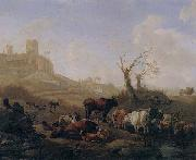 William Romeyn Cattle and sheep by a stream in a pasture,a town beyond oil painting picture wholesale